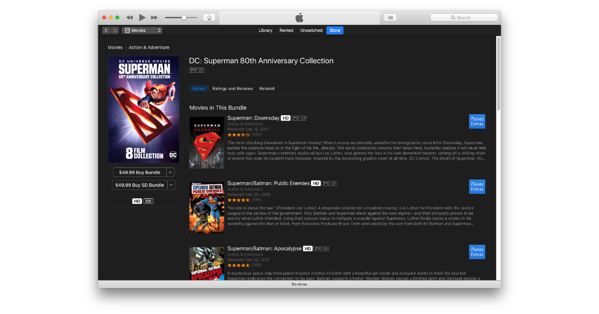 Superman iTunes movie bundle