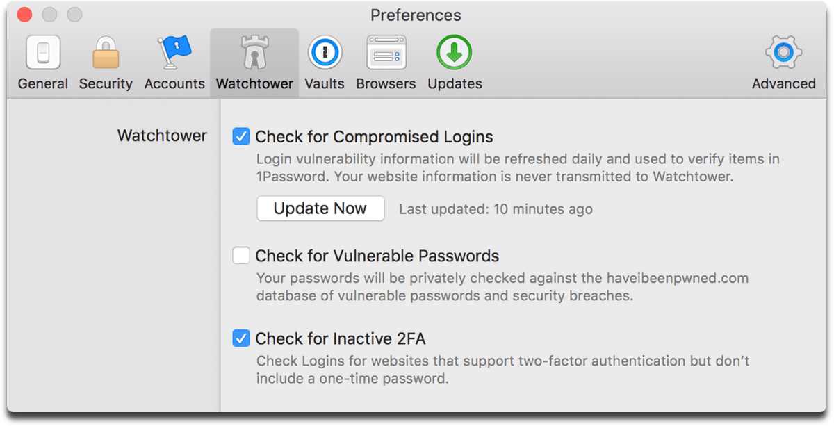 Image of 1Password 7 preferences.