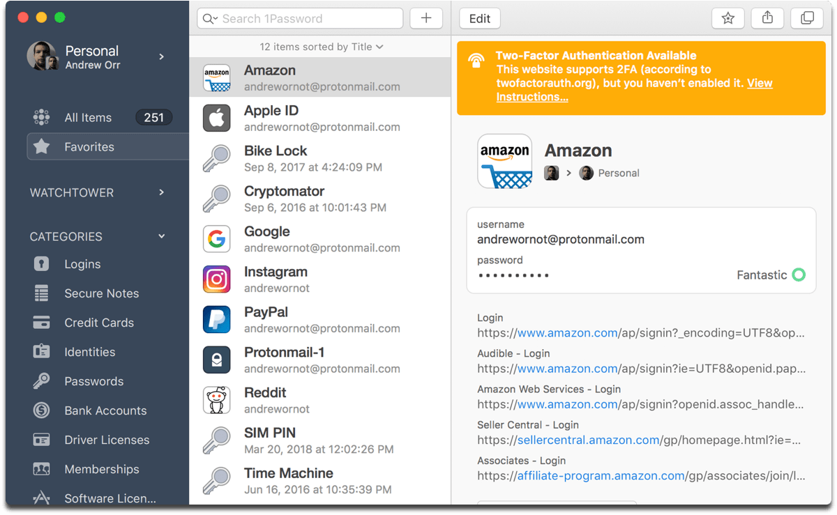 Image of 1Password 7. 1Password 7 now lets you can which accounts you can add two-factor authentication to.