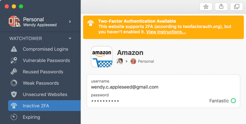 1Password 7's new alert for sites that offer 2-factor authentication that's not yet enabled.