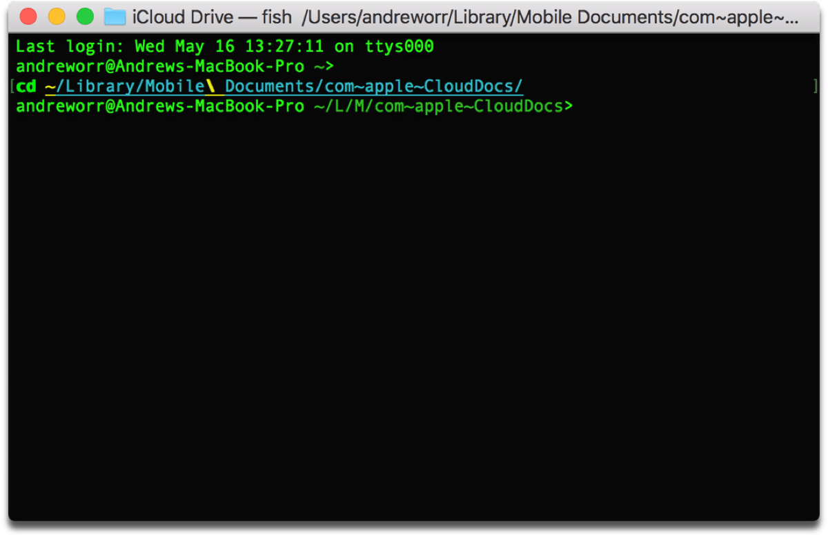 Changing directories to access iCloud Drive in Terminal.