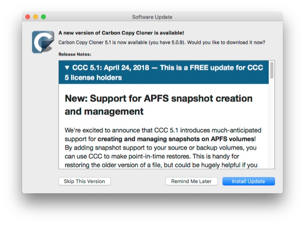 bombich software updates carbon copy cloner with apfs snapshot