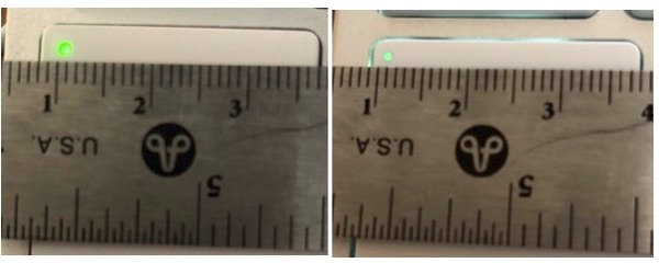 Caps lock key LED side-by-side.