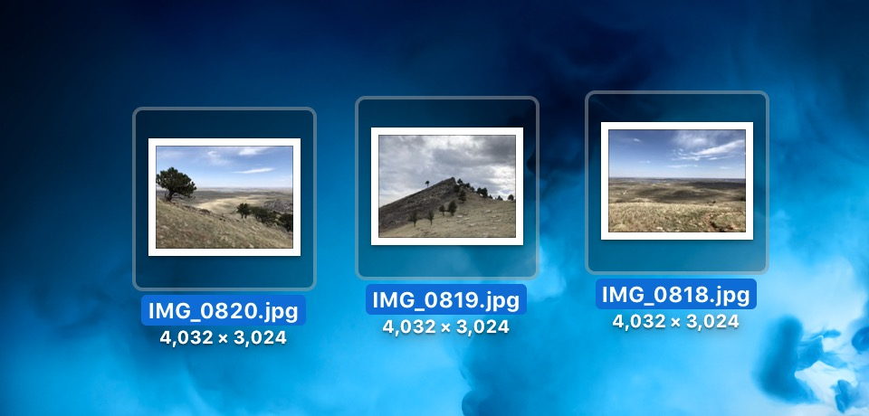 Selected Files on Mac Desktop ready to open in Preview