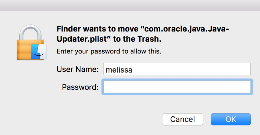Warning Dialog Box with authentication request to remove items from LaunchAgents folder on the Mac