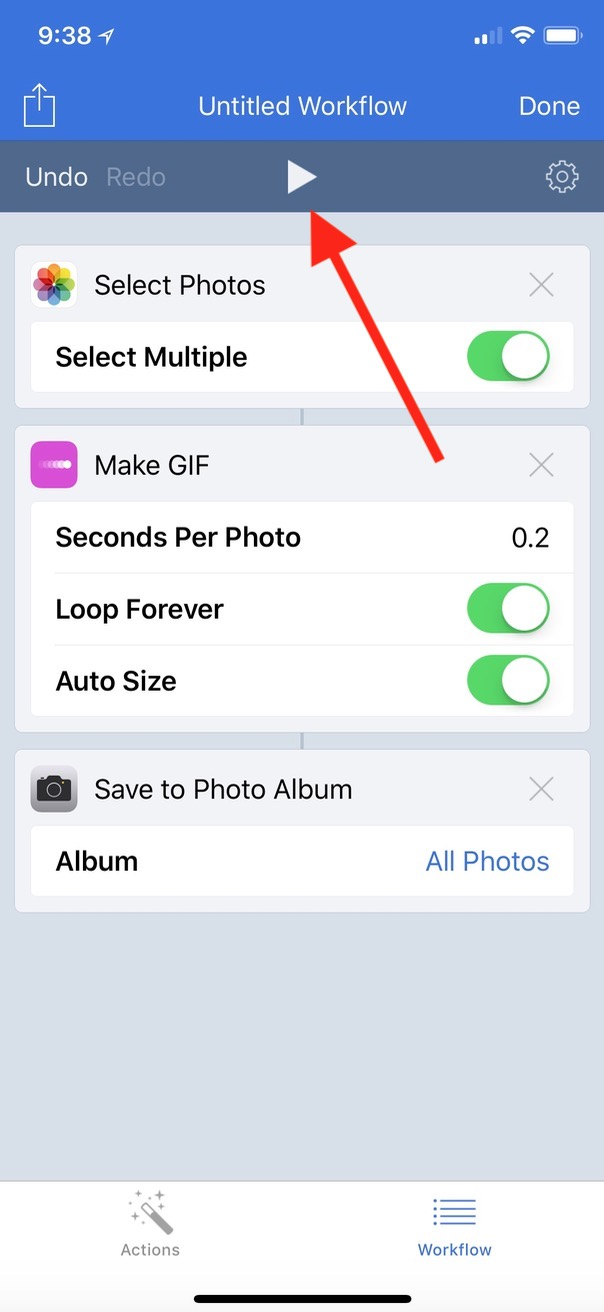Play Button in animated GIF Workflow on iPhone X