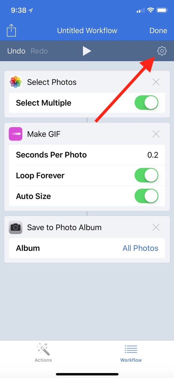 Gear Icon for making a Home screen icon for a specific Workflow