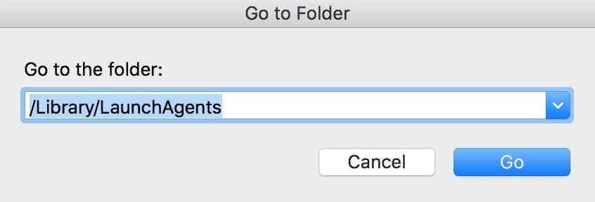 """Go to Folder"" Box in Finder in macOS with /Library/LaunchAgents set as the location"
