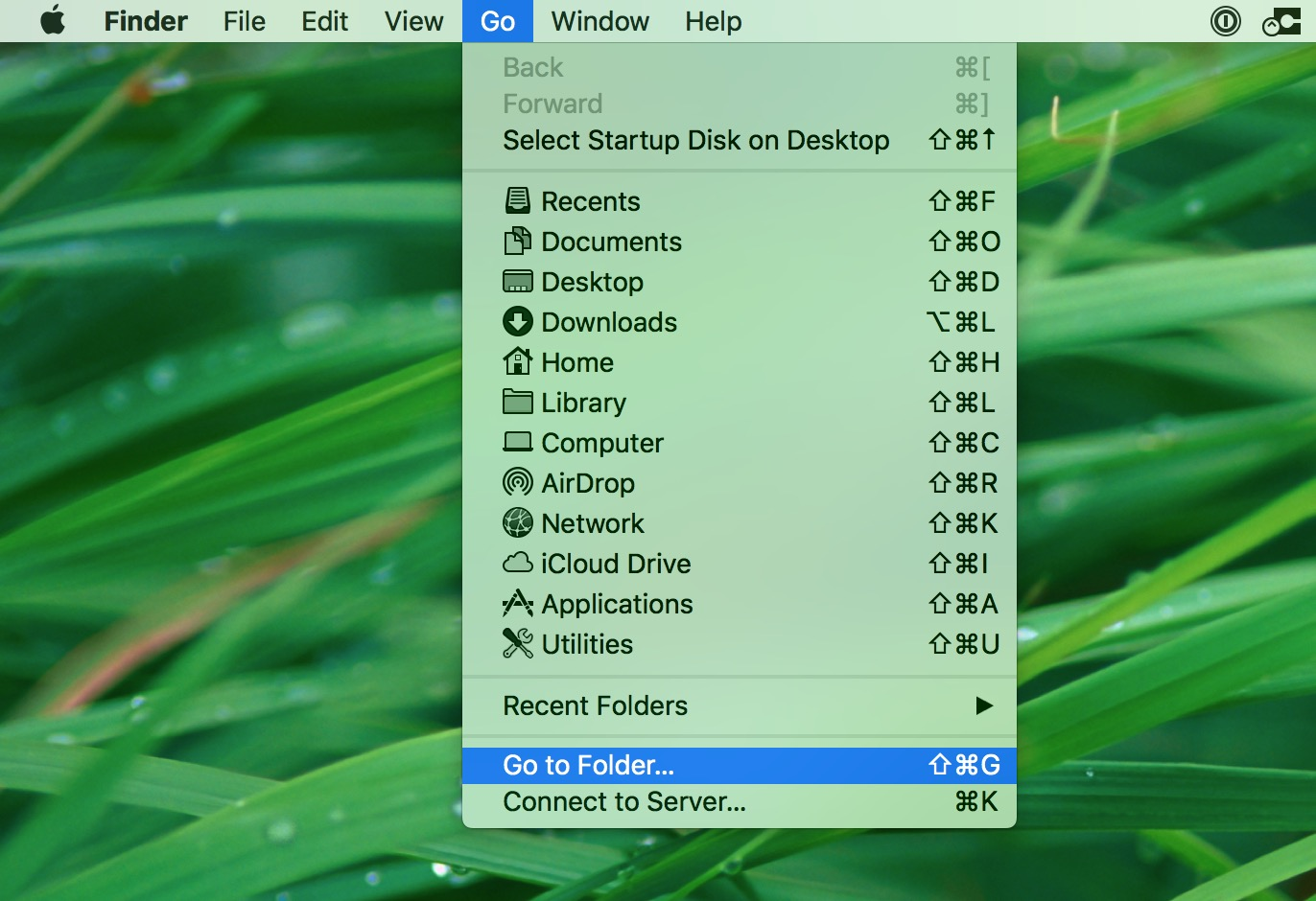 """Go"" Menu in Finder in macOS for going to specific locations on your Mac"