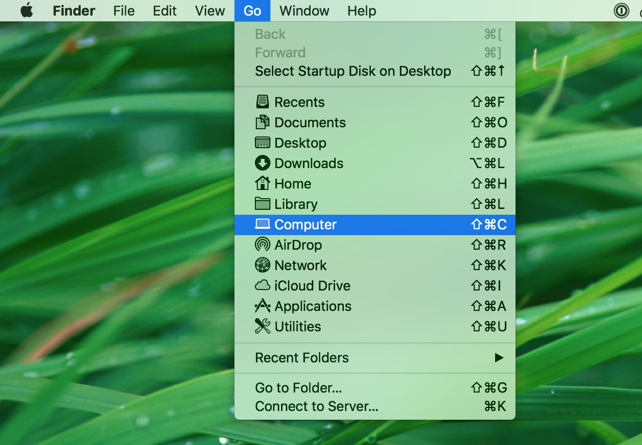 """Go"" Menu in Finder on macOS"