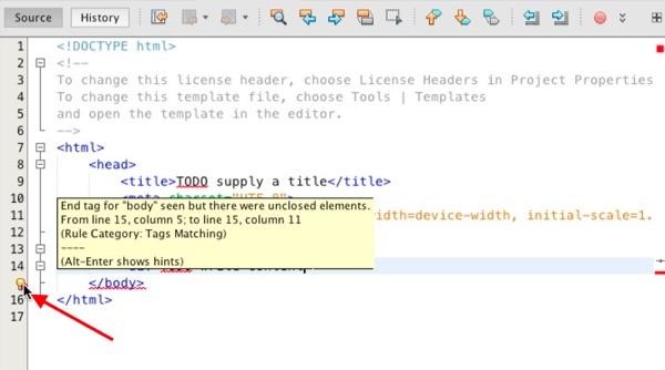 An iDE error alert.