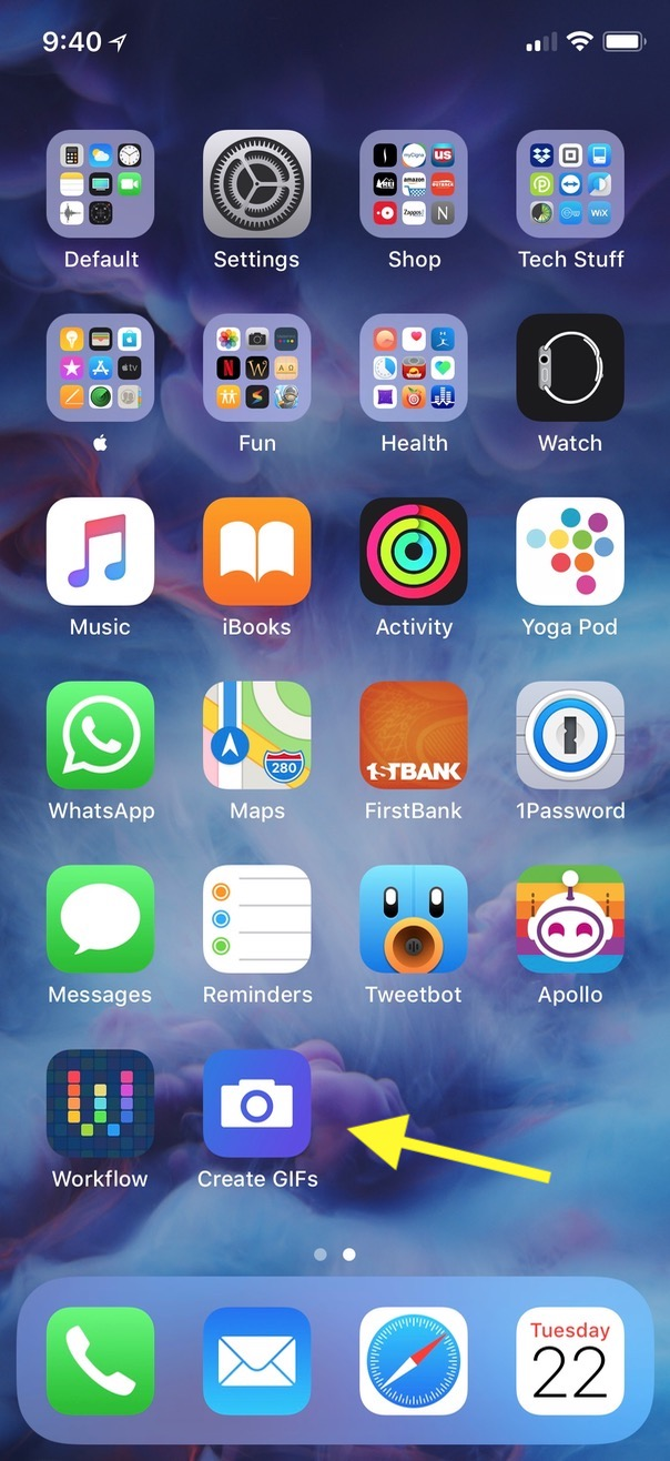 """""""Create GIFs"""" Workflow App on iPhone Home Screen"""