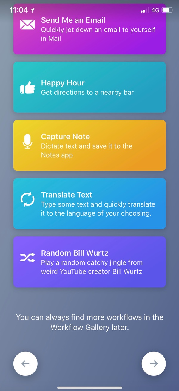 Workflow's Intro Screen on iPhone X