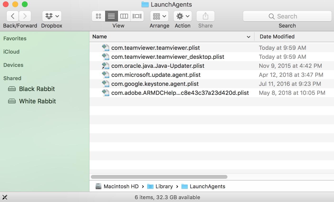 Contents of LaunchAgents folder in macOS