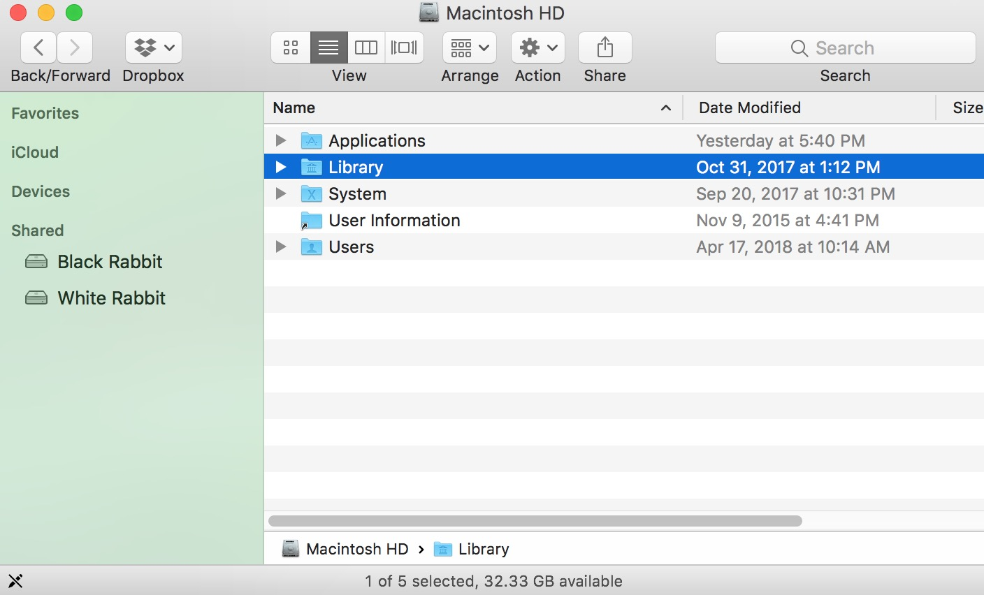 """Library"" Folder in Finder in macOS"