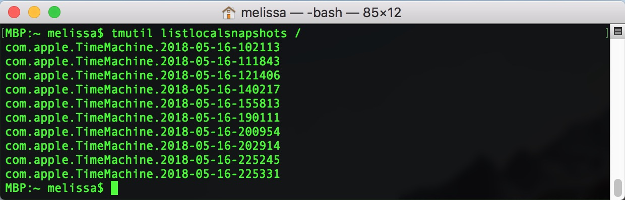 List of Time Machine Local Snapshots in macOS Terminal