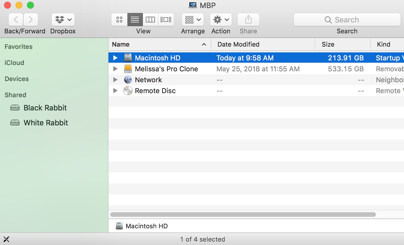 Macintosh HD in Finder window in macOS