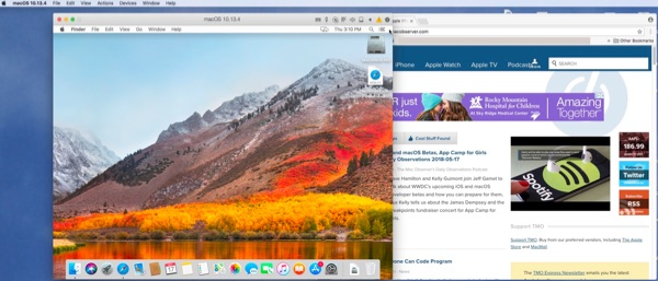 macOS VM running its own window on my Mac's desktop.