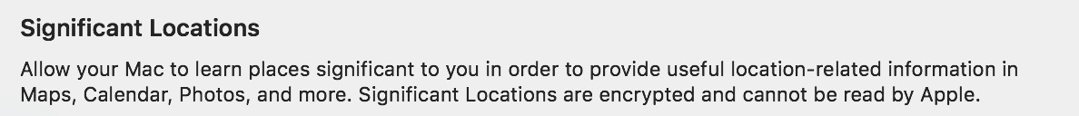 """""""Significant Locations"""" Privacy Note on the Mac"""