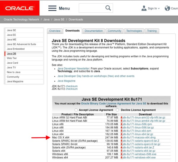 Oracle's Java SE download page.