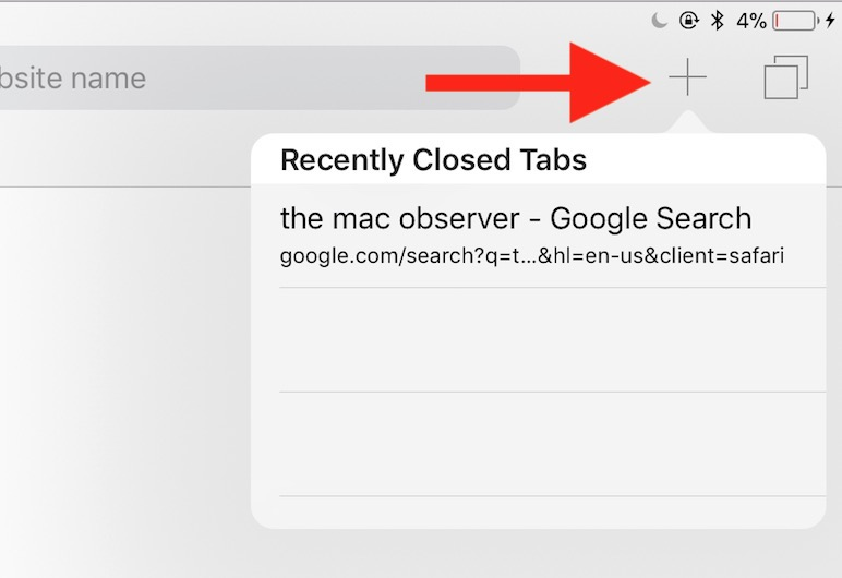 Plus Button in Safari on iPad for adding tabs or opening recently closed tabs