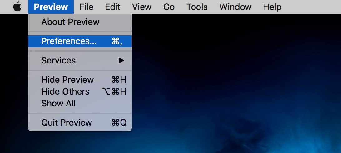 Preview's Menu showing Preferences option on the Mac