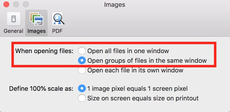 Preview Preferences Window showing When opening files options