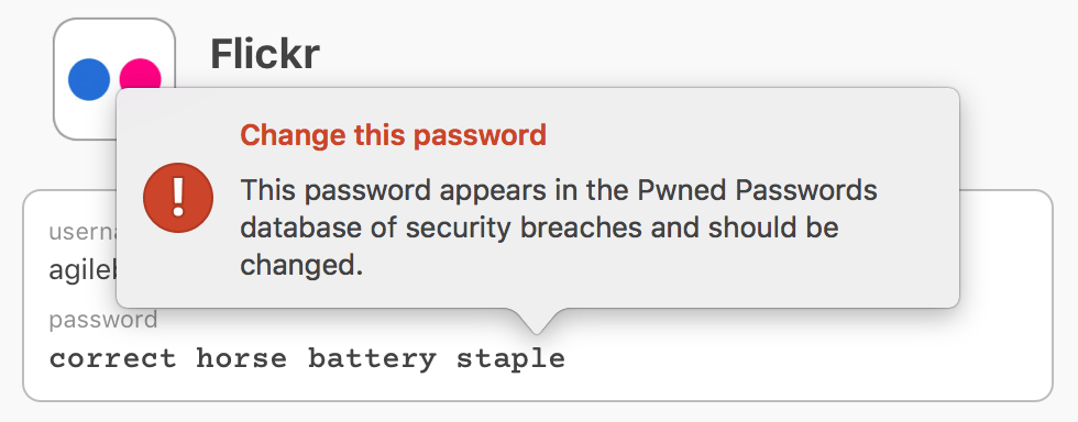 1Password 7's new alert for compromised passwords.