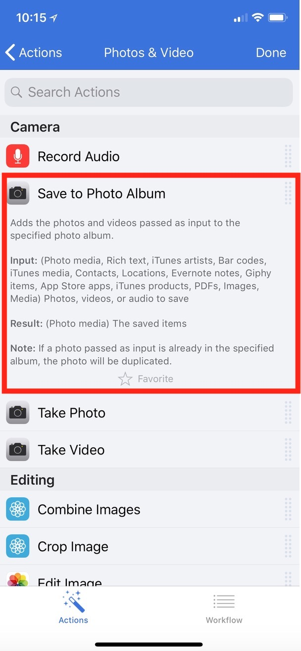 """Save to Photo Album"" Action in Workflow on iPhone X"