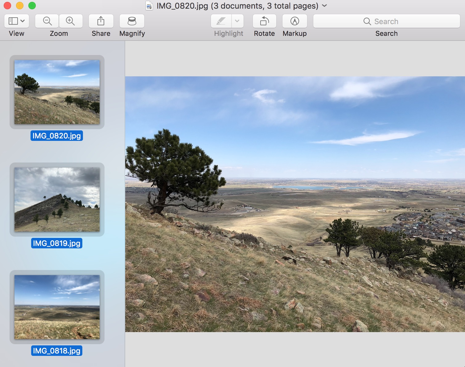 Group of image files Selected from Thumbnails in Preview
