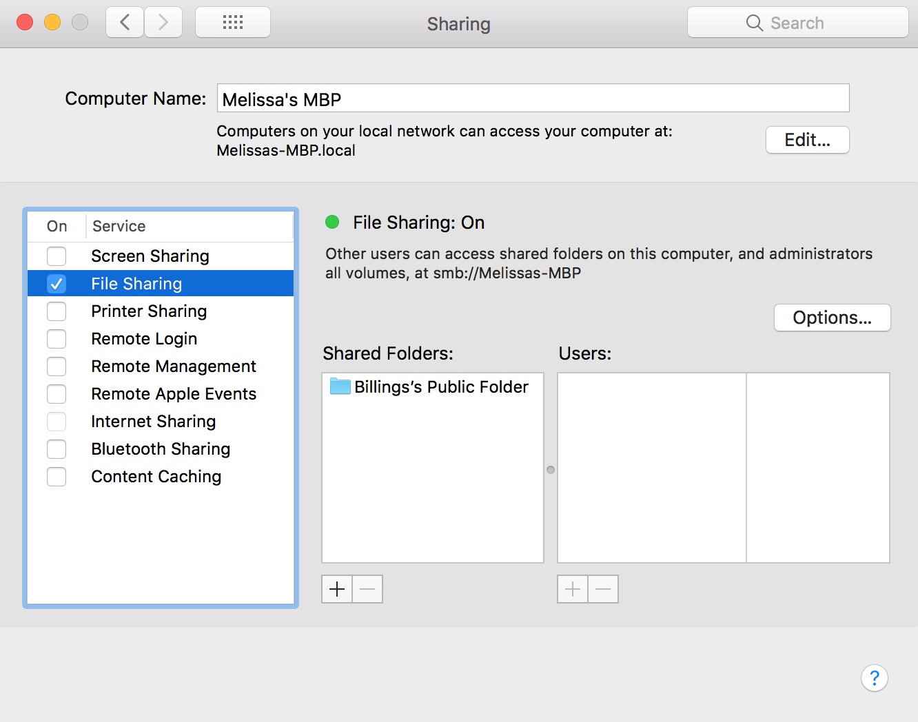 macOS Sharing Settings with File Sharing enabled