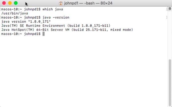 Confirm Java installation.