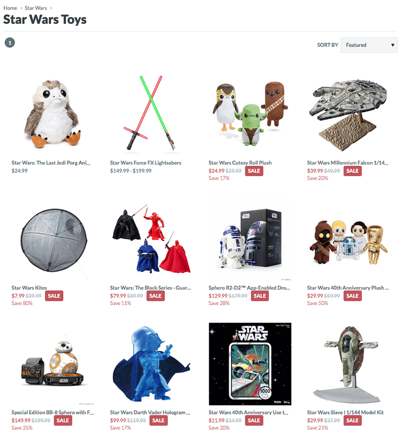Almost all Star Wars gear is on sale at ThinkGeek.com.