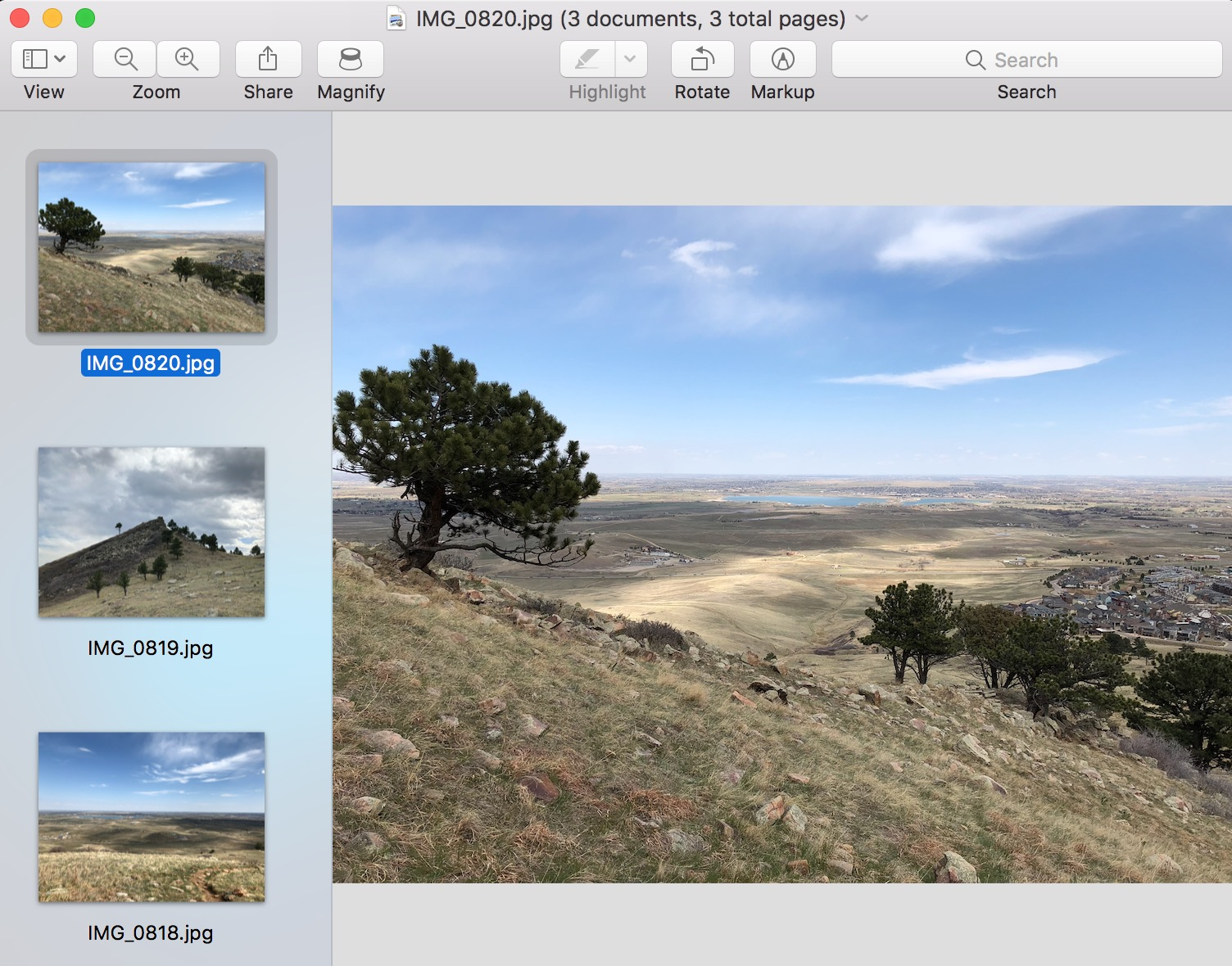 Group of image Files Open in Preview