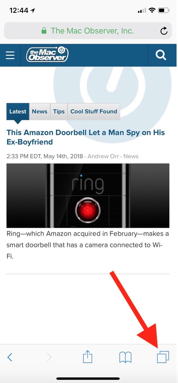 Tabs Button in Safari on iPhone