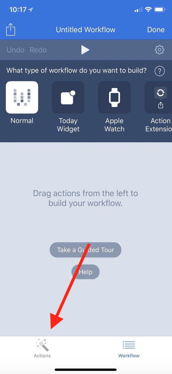 Actions Tab lets you choose modules to include in your Workflow