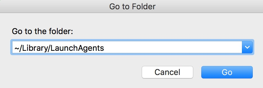 """Go to Folder"" Dialog Box in macOS Finder with user /Library/LaunchAgents directory set as the location"