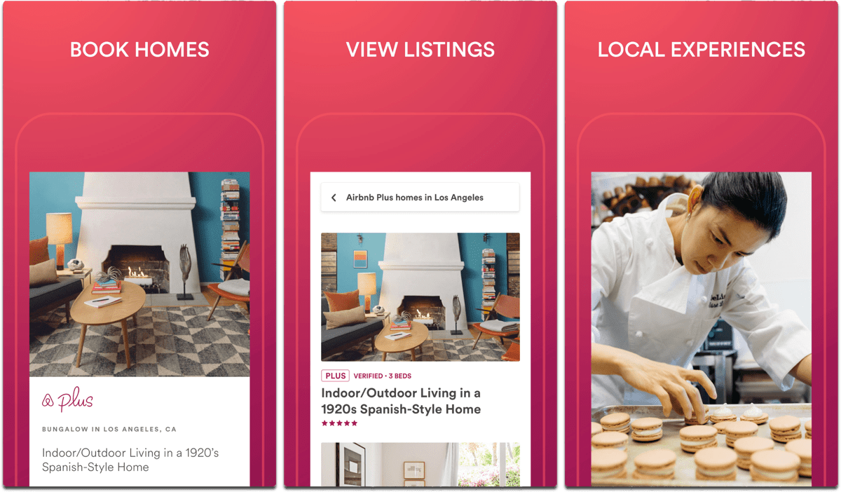 Screenshots of Airbnb, an app to help plan your summer vacation.