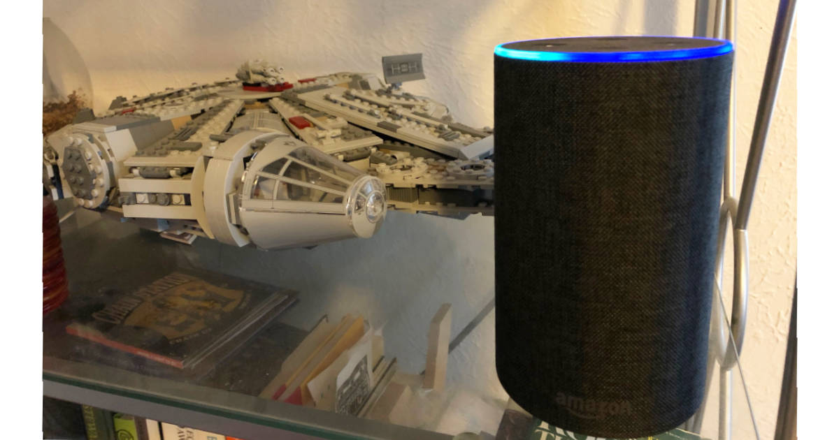 Amazon Echo on shelf with LEGO Millennium Falcon