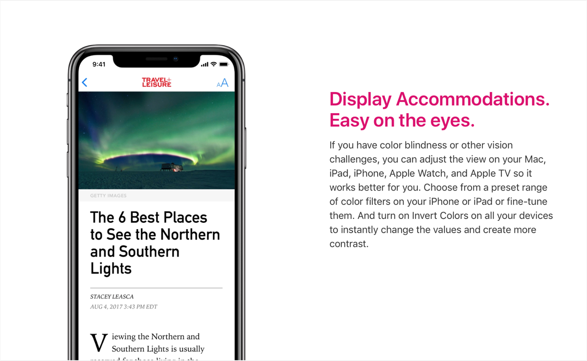 Image of Display Accommodations on iPhone on Apple's Accessibility website.