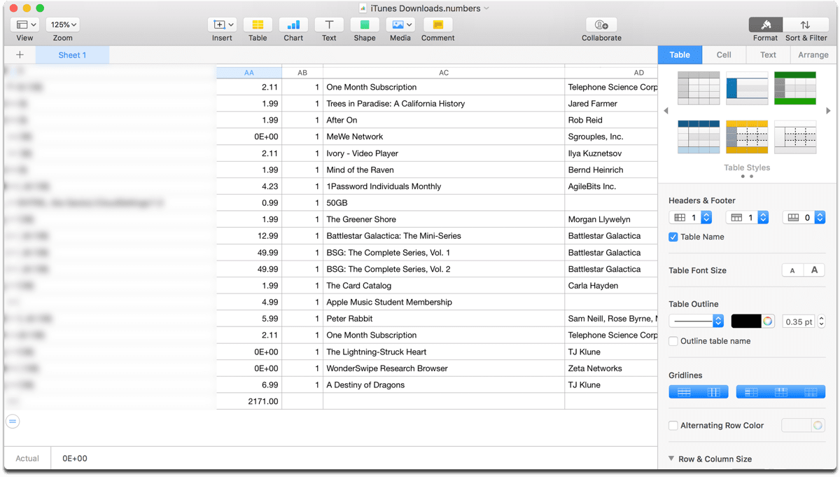 Screenshot of my Apple data download spreadsheet.