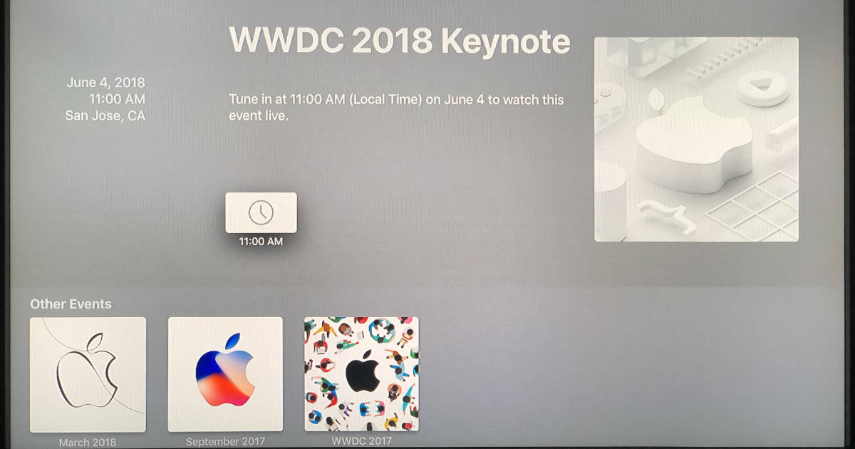 Apple Events App on Apple TV Updated for WWDC 2018 Keynote