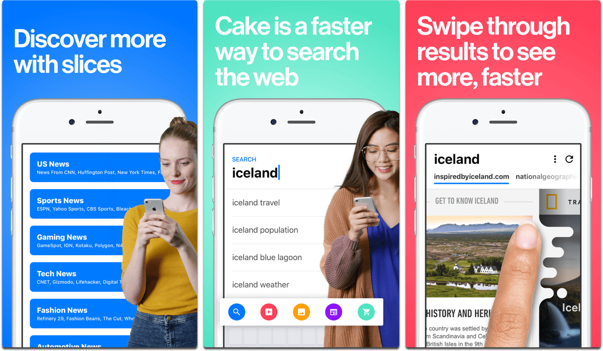Screenshots of Cake browser in our list of iOS browsers.