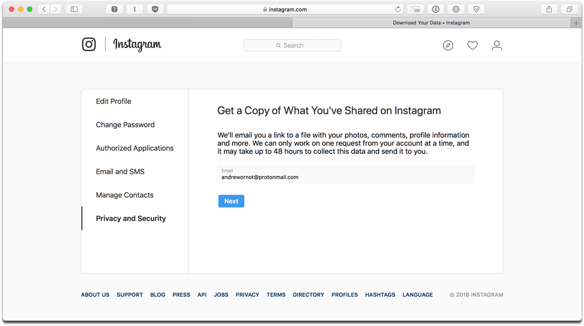 Download Instagram data in a browser on a laptop or desktop.