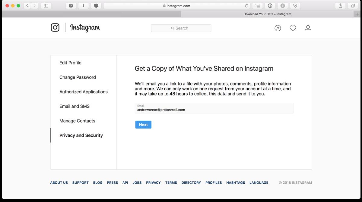 Download Instagram data in a browser on a laptop or desktop.