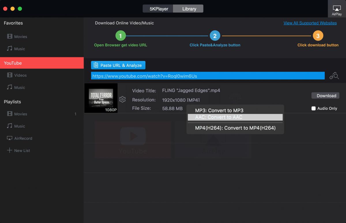 5KPlayer download video window