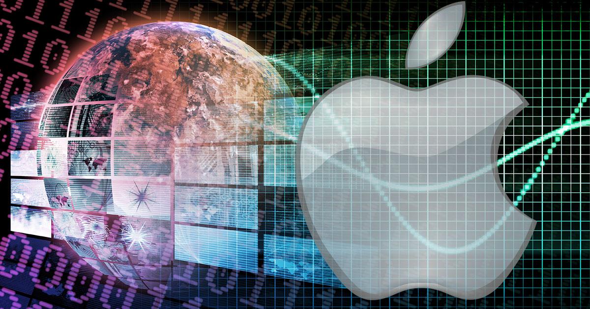 Apple and a globe