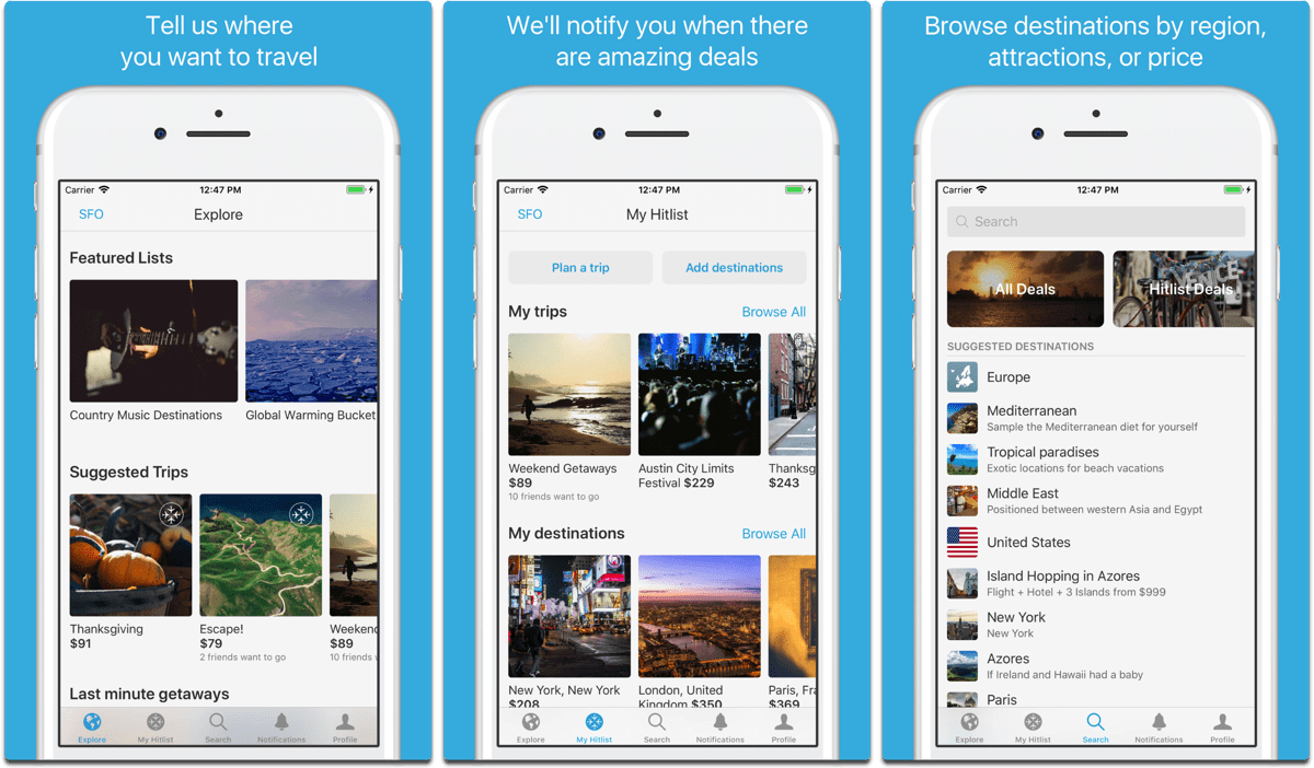 Screenshots of Hitlist, an app to help plan your summer vacation.