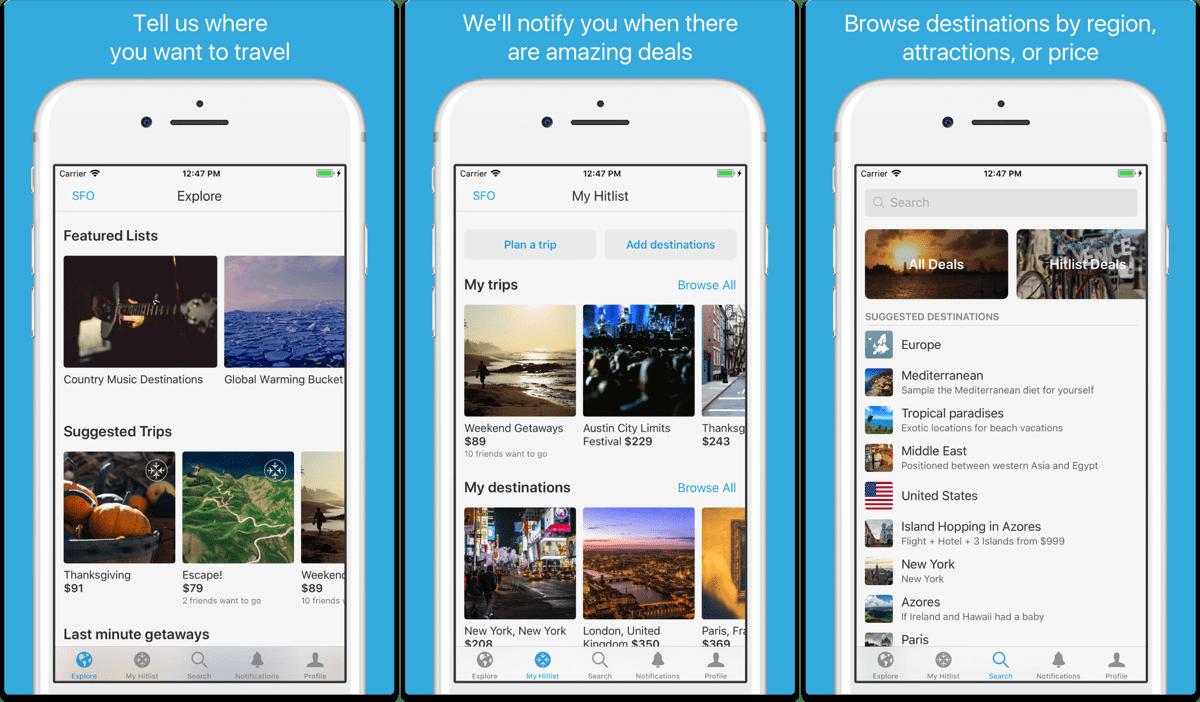 Screenshots of Hitlist, an app to help plan your summer vacation.