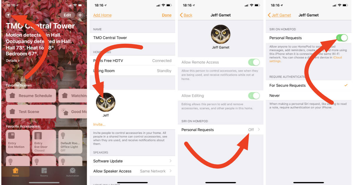 Personal Requests settings for HomePod on iPhone